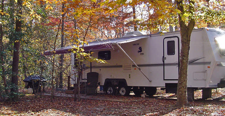Fall campsite at Holiday Park Campground